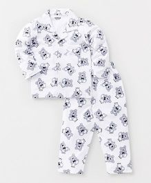 Doreme Full Sleeves Night Suit All Over Teddy Print - White