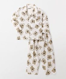 Doreme Full Sleeves Night Suit All Over Teddy Print - Cream