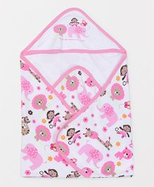 Doreme Hooded Wrapper Animal Print - White Pink