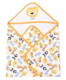 Doreme Hooded Wrapper Animal Print - White Yellow
