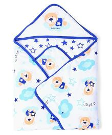 Doreme Hooded Wrapper Bear Print - White Blue