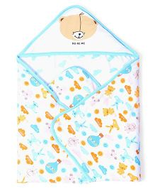 Doreme Hooded Wrapper Multiprint - White Blue