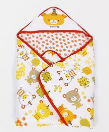 Doreme Hooded Wrapper Bear Print - White Yellow