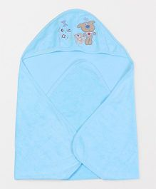 Doreme Hooded Wrapper Animal Embroidery - Aqua Blue