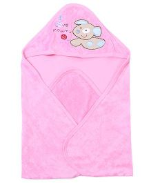 Doreme Hooded Towel Puppy Embroidery - Pink