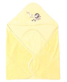 Doreme Hooded Towel Lion Embroidery - Lemon Yellow