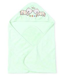 Doreme Hooded Towel Bear Embroidery - Lime Green