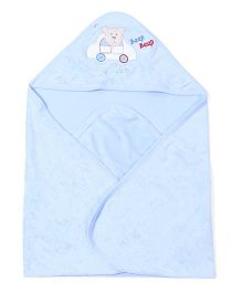 Doreme Hooded Towel Bear & Vehicle Embroidery - Sky Blue