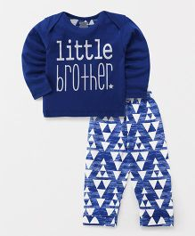 Mini Taurus Full Sleeves T-Shirt And Lounge Pants Little Brother Print - Dark Blue White