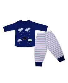 Cuddledoo Full Sleeves T-Shirt And Stripe Lounge Pants Umbrella Patch - Blue White