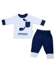 Cuddledoo Full Sleeves T-Shirt And Lounge Pants Dolphin Patch - White Navy Blue