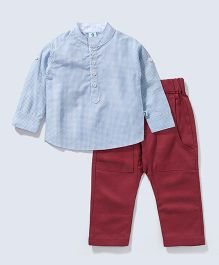 Cuddledoo Full Sleeves Check Shirt And Diaper Pants - Blue Maroon