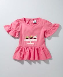 Cuddledoo Flutter Sleeves Top Cupcake Patch - Pink