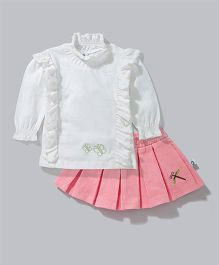 Cuddledoo Full Sleeves Top And Pleated Skirt Butterfly Embroidery - White Pink
