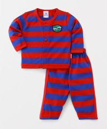Child World Full Sleeves Night Suit Stripe Pattern - Red & Blue