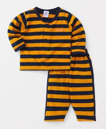 Child World Full Sleeves Night Suit Stripe Pattern - Yellow & Navy Blue