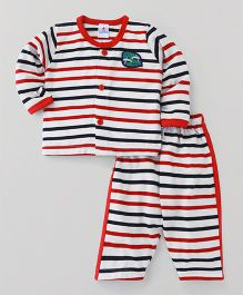 Child World Full Sleeves Night Suit Stripe Pattern - White Red