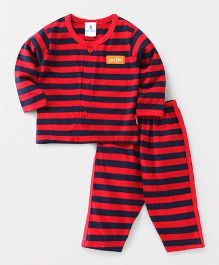 Child World Full Sleeves Night Suit Stripe Pattern - Red & Navy Blue