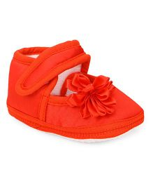 American Studio Satin Booties With 3D Satin Flower & Velcro Closure - Red