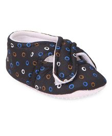 American Studio Cotton Printed Booties With Cross Flap Velcro Closure - Navy