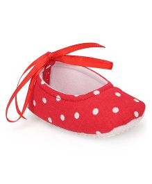 American Studio Cotton Printed Booties With Cute Satin Lace - Red