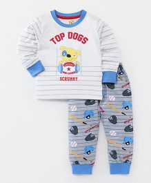 Olio Kids Full Sleeves T-Shirt & Lounge Pant Puppy Print - White & Blue