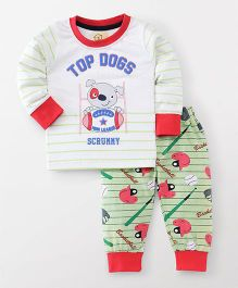 Olio Kids Full Sleeves T-Shirt & Lounge Pant Puppy Print - White & Green