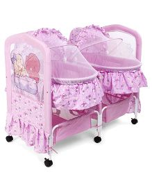 Twin Swing Cradle With Mosquito Net Bear Print - Pink