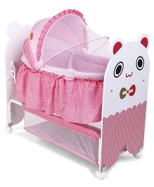 Baby Cradle With Mosquito Net Kitty Design - Pink