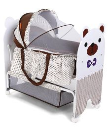 Baby Cradle With Mosquito Net Bear Design - Brown