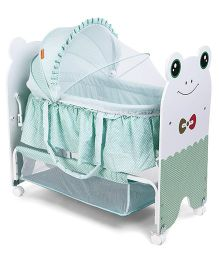 Baby Cradle With Mosquito Net Froggy Design - Green