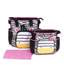 Mother Bag Set With Diaper Changing Mat Printed - Black & Pink