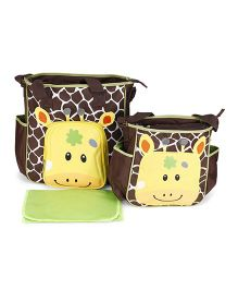 Mother Bag Set With Diaper Changing Mat Printed - Coffee Brown & Yellow