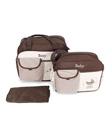 Mother Bag Set With Diaper Changing Mat Printed - Coffee Brown & Cream