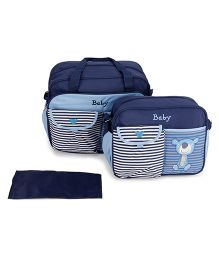 Mother Bag Set With Diaper Changing Mat Printed - Navy
