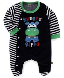 Wow Full Sleeves Winter Wear Romper Hippo Embroidery - Navy Blue And Green