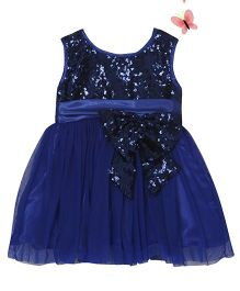 Pocoreina Bow Applique Boufant Sequence Dress - Blue