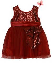 Pocoreina Bow Applique Boufant Sequence Dress - Red