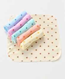 Babyhug Terry Face Napkins Star Print Pack Of 6 - Multicolor