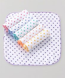 Babyhug Terry Face Napkins Polka Dot Print Pack Of 6 - Multicolor