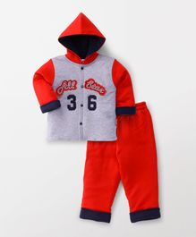 Child World Winter Wear Hooded Front Open T-Shirt & Bottoms Set - Red