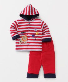Child World Winter Wear Hooded Front Open T-Shirt & Bottoms Set Stripes Print - Red