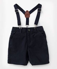 Gini & Jony Party Wear Shorts With Suspenders - Navy Blue