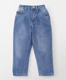 Palm Tree Elasticated Full Length Jeans - Blue