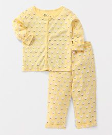 GJ Baby Full Sleeves All Over Print Night Suit - Yellow