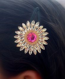 Pretty Ponytails Ethnic Crystal Zardozi Flower Hair Clip - Pink & Golden