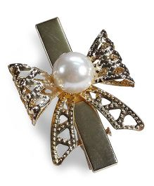 Sugarcart Bow With Big Pearl Alligator Clip - Golden