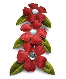 Sugarcart Flowers With Leaves Alligator Clip - Maroon