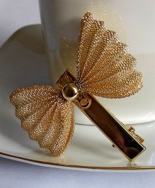 Sugarcart Mesh Bow Alligator Clip - Golden