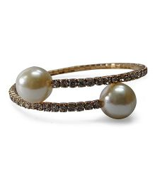 Sugarcart Diamond Studded Adjustable Bracelet With Pearls - Golden